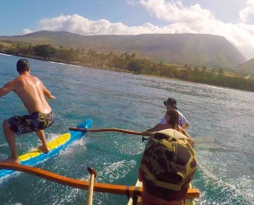 Puamana Canoe Surfing with Maui Surf Lessons