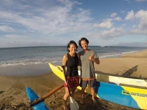 Maui Canoe Surfing Couple on beach