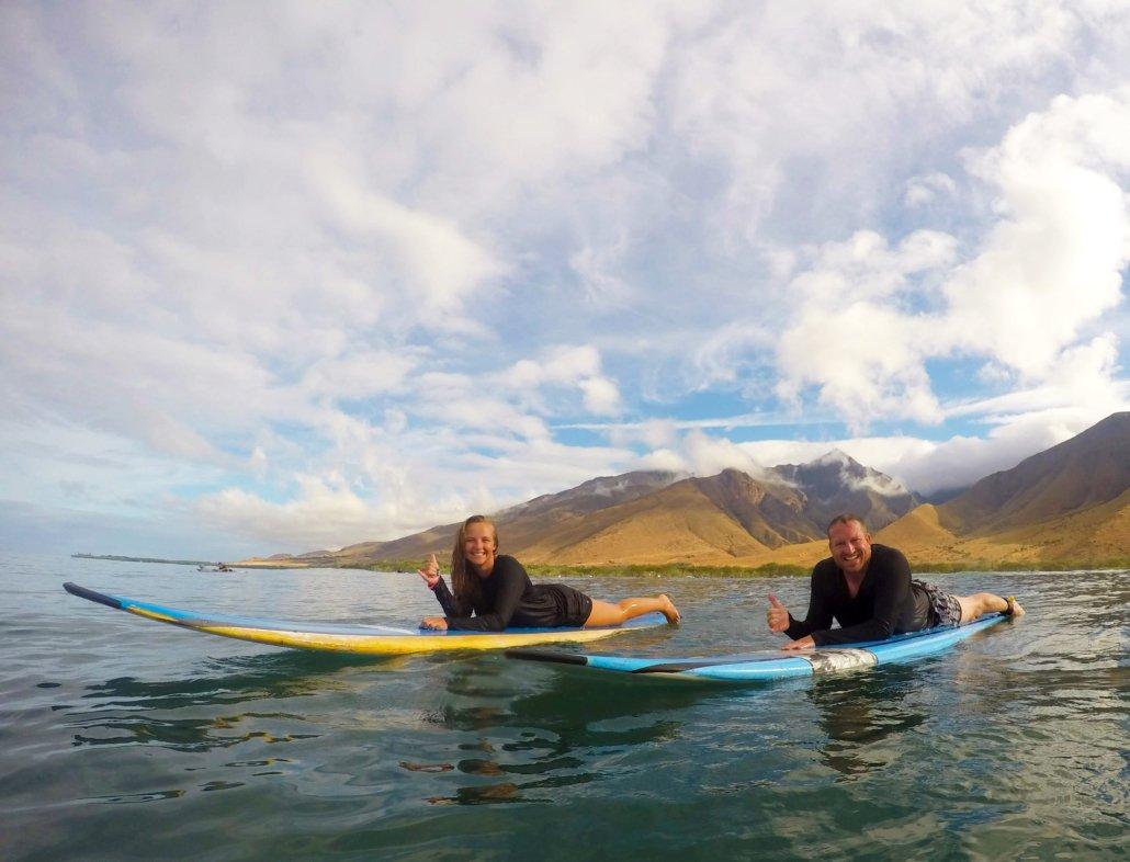 Maui Surf Lesson Couple