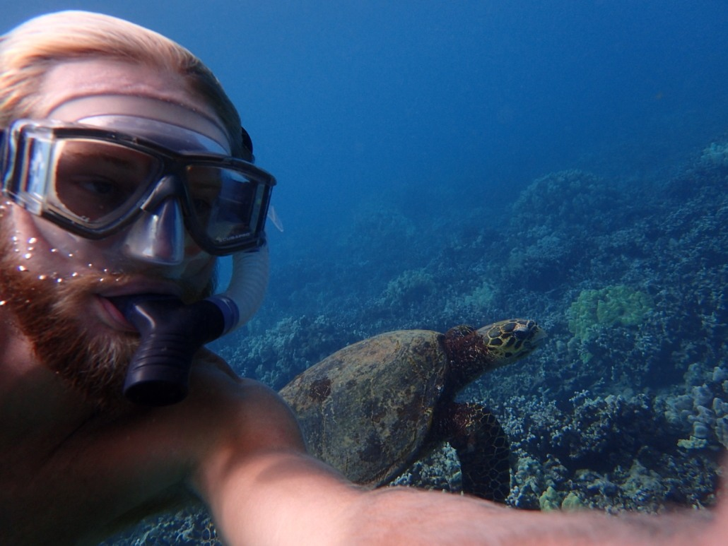 Guide Matt with sea turtle